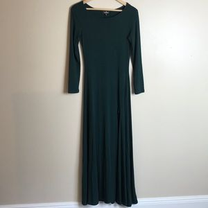 Lulus Swept Away Green Long Sleeve Maxi Dress S